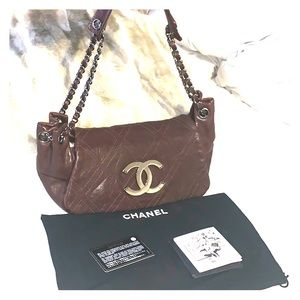 Chanel Brown Diamond Stitched Caviar Flap Purse